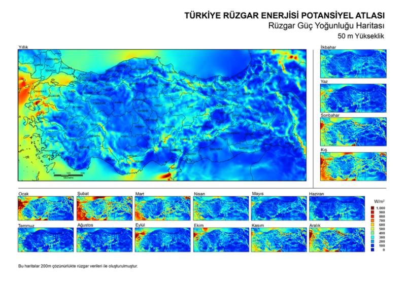 Türkiye Rüzgar Enerjisi - Rüzgar Güç Yoğunluğu Haritası