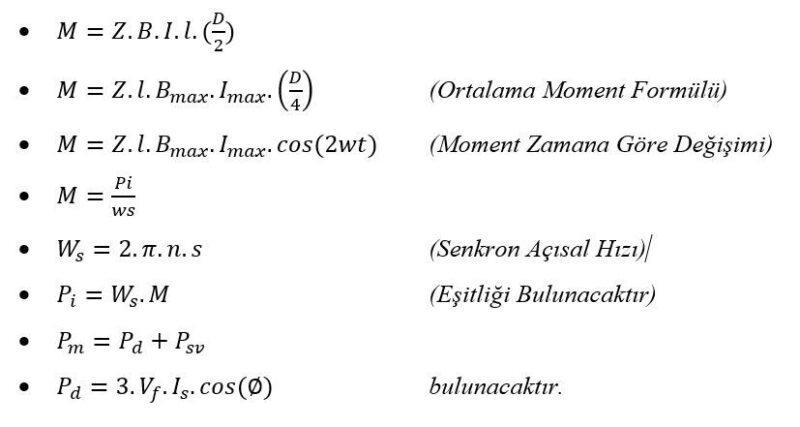 Senkron Makinelerde Güç ve Moment Formülleri