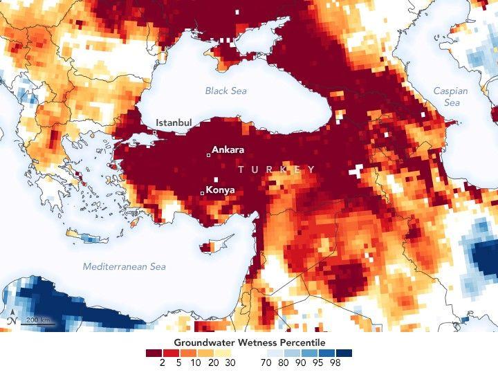 Şekil 9. NASA'nın Türkiye'nin Yer Altı Su Haritası | © NASA